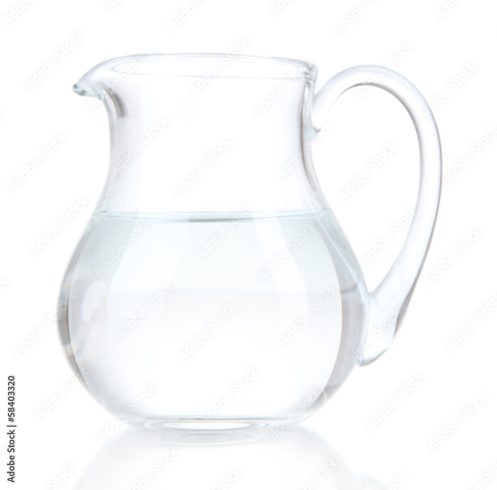 Fototapety, obrazy: Glass pitcher of water isolated on white