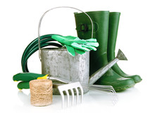 Gardening Tools Isolated On Wh...
