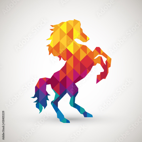 Poster Geometrische dieren abstract horse symbol with colorful diamond
