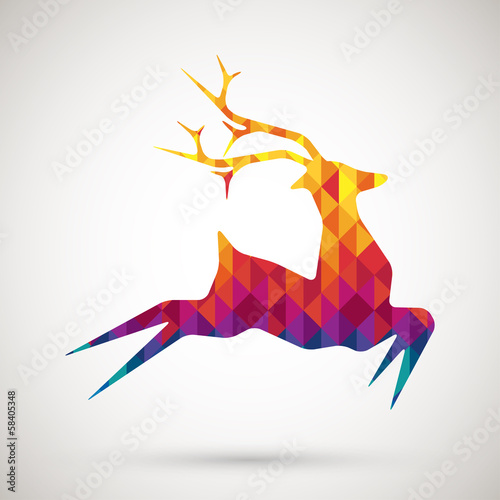 Poster Geometrische dieren abstract reindeer with colorful diamond