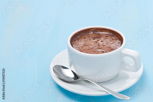 Foto op Canvas Chocolade cup of hot chocolate and space for text
