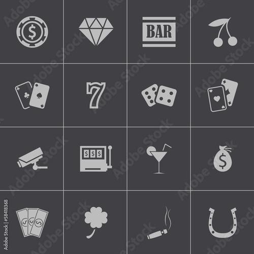 Vector black casino icons set Poster