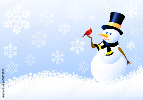 Photo Snowman,Christmas Birds with Snow flacks
