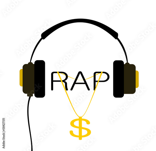 Photo  headphone with rap music and gold chain