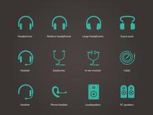 Headphones And Speakers Icons.