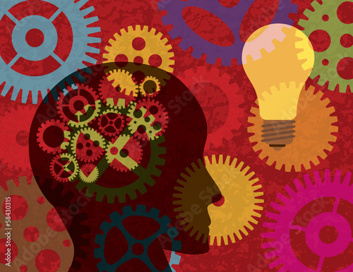 Juliste  Human Head Silhouette with Gears Background Illustration