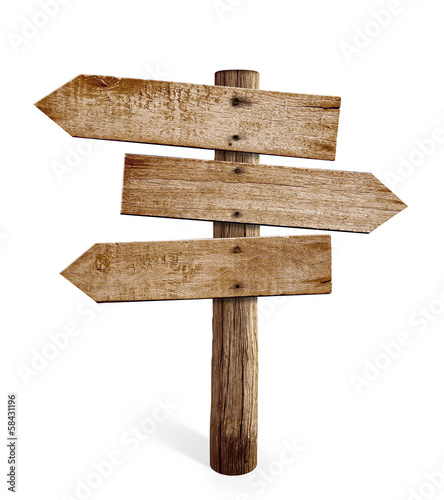 Poster Bois wooden arrow sign post or road signpost isolated