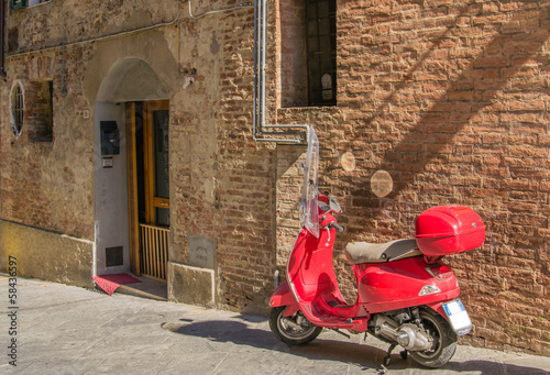 Fototapety, obrazy: Red scooter parked