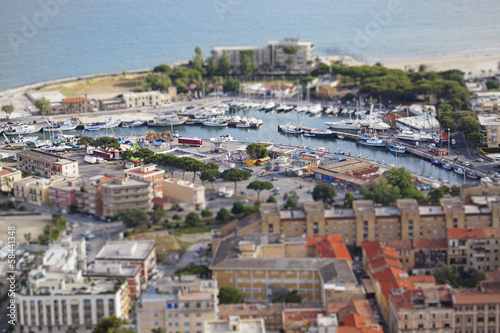 Valokuva  Aerial view of Terracina harbour with tilt-shift lens effect