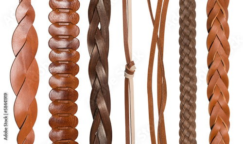 Valokuva Closeup of various leather belts