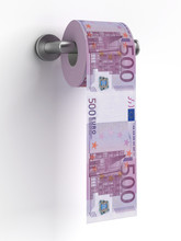 Roll Of Euros Bills On A Toile...