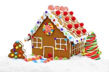 Gingerbread House In Snow Isol...