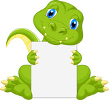 Fototapeta Dinusie - Cute dinosaur cartoon holding blank sign