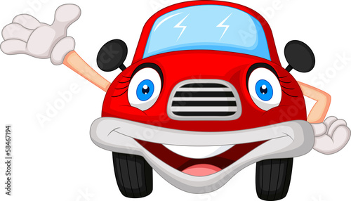 Staande foto Cartoon cars Cute red car cartoon character