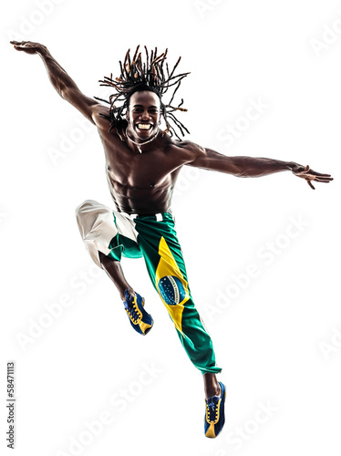 Fotomural brazilian  black man dancer dancing jumping  silhouette