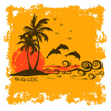 Summer Illustration With Tropical Island