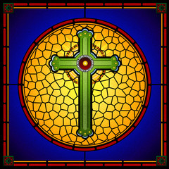 Fototapetastained glass christian cross square panel