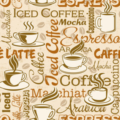 Fototapeta Coffee break, vector seamless pattern