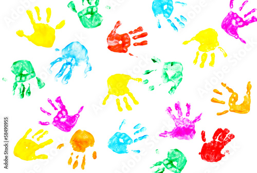 Fotografia, Obraz  Hand prints of child isolated on a white