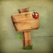 Ladybug On Wooden Sign Old Style