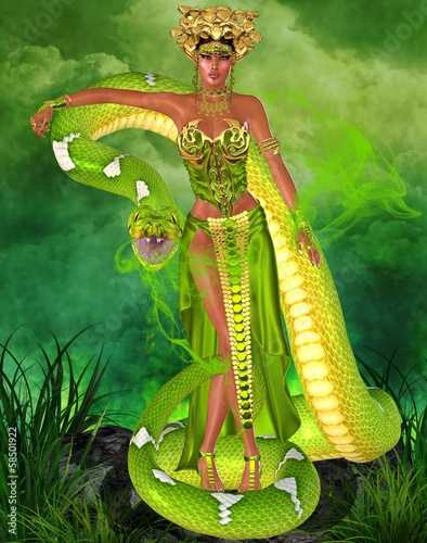 Fotografie, Obraz  Magic snake goddess in green garden