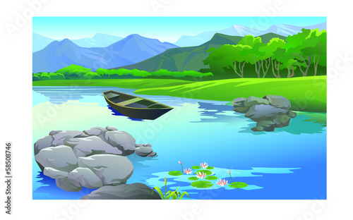 Canvas Prints River, lake beautiful landscape in the lake