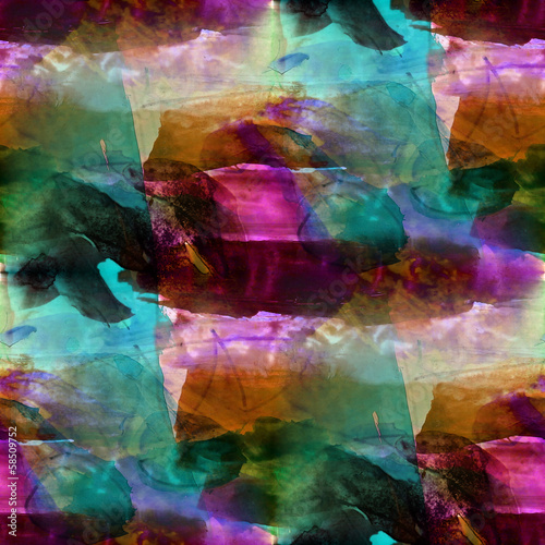 seamless cubism blue, purple abstract art Picasso texture waterc #58509752