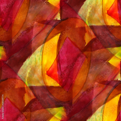 seamless cubism red, yellow abstract art Picasso texture waterco - 58509774