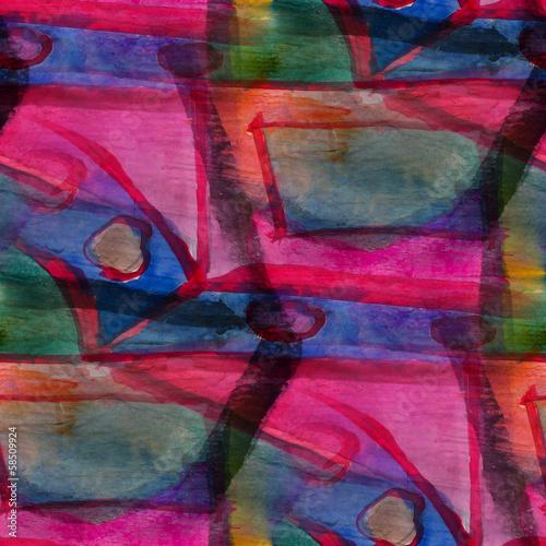 Stampa su Tela texture watercolor red, blue, green, avant-garde seamless backgr