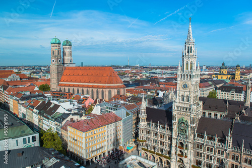 Fototapety, obrazy: Aerial view of Munchen  Marienplatz