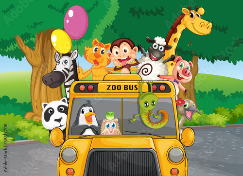 A zoo bus with animals