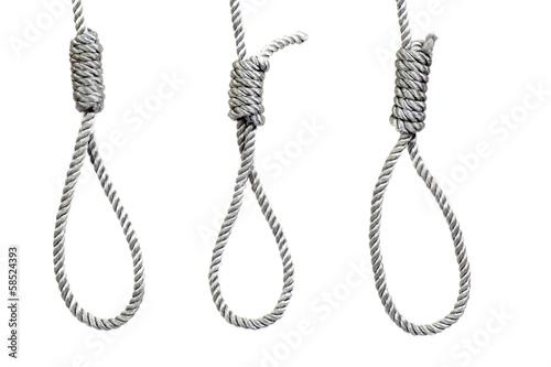 three hanging noose ropes, isolated on white Fototapeta