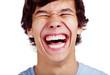 canvas print picture - Happy teenage laugh closeup over white