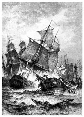 Fotografering  Naval Battle : Trafalgar - begining 19th century
