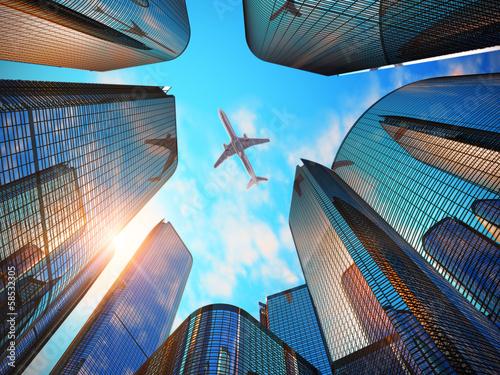 Fototapeta na wymiar Business district with modern skyscrapers