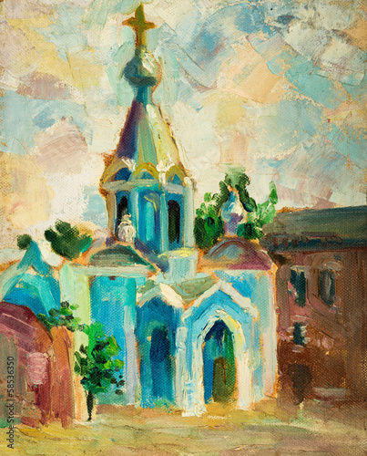 Fototapety, obrazy: Oil painting on canvas. Old Church.