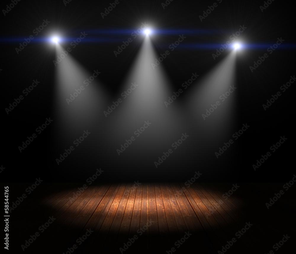 Fototapeta Illustration of Spotlights on empty old wooden stage