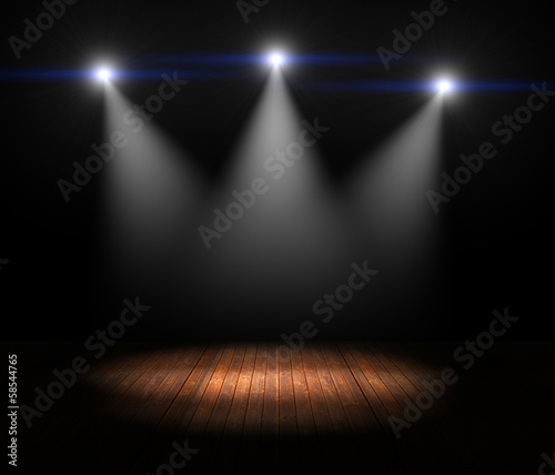 Papiers peints Lumiere, Ombre Illustration of Spotlights on empty old wooden stage