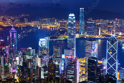 Fototapety, obrazy: Urban Cityscape in Hong Kong at night