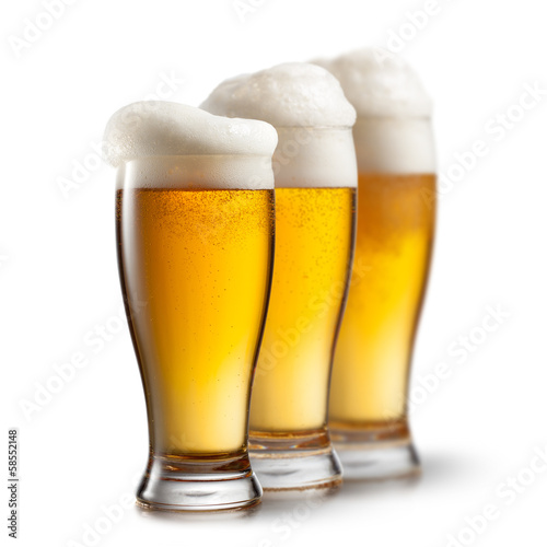 Foto op Canvas Alcohol Beer in glasses isolated on white background