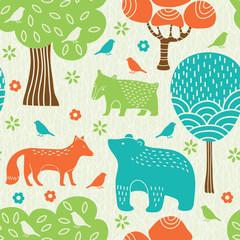 Fototapeta Forest animals seamless pattern