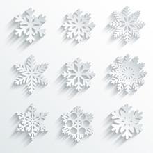 Snowflakes Shape Vector Icon S...