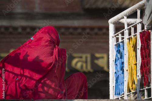 Nepali woman with red sari in Kathmandu