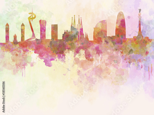 Foto op Canvas Barcelona Barcelona skyline in watercolour background