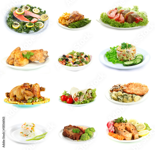Collage of delicious dishes isolated on white © Africa Studio