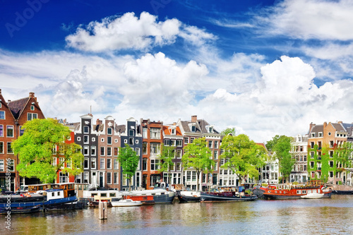 Canvas Prints Amsterdam Amsterdam with canal in the downtown,Holland.