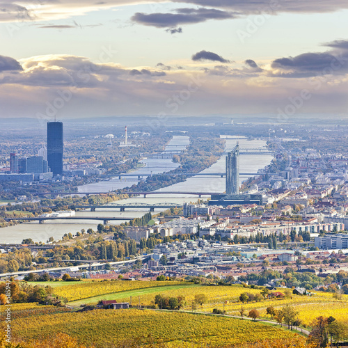 Staande foto Wenen Cityscape of Vienna and Danube in the autumn at dusk