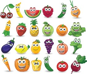 Мультфильм фрукты и овощи с различными эмоциями