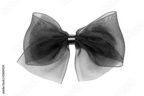 Fotografie, Obraz  Nœud décoratif en tulle noire sur fond blanc