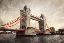 Tower Bridge In London, England, The UK. Vintage Style